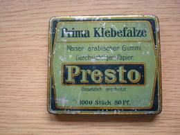 Old Tin Box Prima Klebefalze Reiner Arabischer Gummi Durchsichtiges Papier Presto - Boxes
