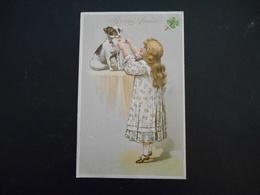 Petite Fille élégante Prenant Une Lettre à Un Petit Chien Marron Et Blanc - Gaufrée - Série 6199 - Enfants