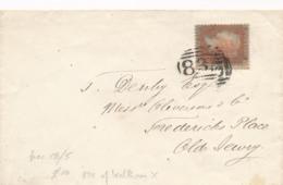 UK - 1857 - 1P Queen Victoria - P14 - Letters L?-C Op Cover - 1840-1901 (Regina Victoria)