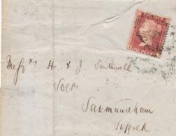 UK - 1857 - 1P Queen Victoria - P14 - Letters B-J On Part Of Folded Letter Van Wisbeach Naar Saxmundham - 1840-1901 (Regina Victoria)