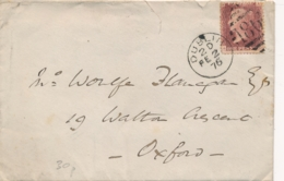 UK - 1876 - 1P Queen Victoria - Plate 173 - Letters A-G On Cover From Dublin To Oxfort - Lettres & Documents