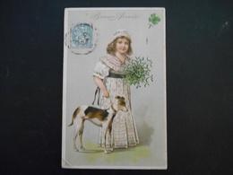 Petite Fille élégante Portant Bouquet De Gui Avec Un Chien Lévrier Marron Et Blanc - Gaufrée - Série 6199 - Enfants