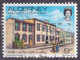 Timbre Oblitéré N° 3(Yvert) Alderney 1983 - Immeuble D'état - Alderney