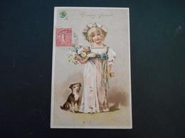 Petite Fille élégante Portant Bouquet De Fleurs Avec Un Petit Chien Marron Et Blanc - Gaufrée - Série 6199 - Enfants