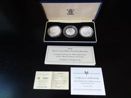 1994 - 50 ème Anniverssaire Du Débarquement Coffret De 3 Pièces BE En Argent (France - Grande Bretagne - Etats Unis) - Commémoratives