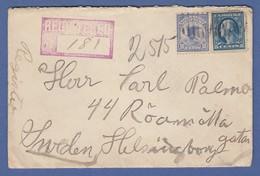 USA Einschreibe-Marke Adler Mi.-Nr. 188 Auf R-Brief Nach Schweden, 1912 - Etats-Unis