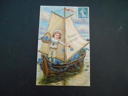 """Petit Garçon Habit """"marin"""" Sur Un Bateau à Voiles Jetant Des Myosotis Dans L'eau - Dorure - Gaufrée - Enfants"""