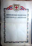 CROIX ROUGE DOCUMENT VIERGE POUR LA JEUNESSE FRANCAISE  SOUS VICHY  53  X 37 CM VERS 1940/1950 LEGERE FENTE EN MARGE - Posters