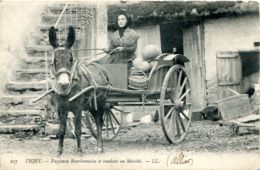 N°8889 -cpa Vichy -paysanne Bourbonnaise Se Rendant Au Marché -attelage âne- - Spannen