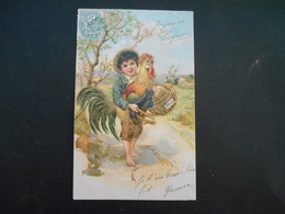 Petit Garçon Pieds Nus Portant Un Coq Et Un Panier Dans Paysage Campagne - Dorure - Gaufrée - Série 6800 - Enfants