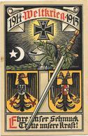 GUERRE 1914-18 ALLEMAGNE Carte Patriotique Illustrée WELTKRIEG 1914-1915 Par WENZEL - Patriotic