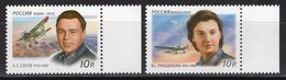 2010 Russia Mi# 1618-19 Soviet Ace Pilots. Serov. Grizodubova. Ww2 MNH** Z121 (v61) - Unused Stamps