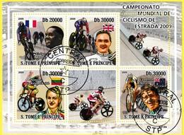 Bloc Feuillet Oblitéré De 4 Timbres-poste -  Championnat Du Monde De Cyclisme Sur Route 2009 - Sao Tome Et Principe 2009 - São Tomé Und Príncipe