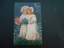 Petites Filles élégantes Portant Panier De Fleurs Roses, Bouquet De Myosotis Et Lettre - Argent - Gaufrée - Série 7046 - Enfants