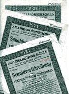 ANLEIHEABLÖSUNGSSCHULD Des DEUTSCHEN REICHES Zu  25, 100, 200 Rechsmark (3 Titel) - Banque & Assurance