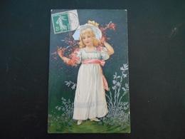 Petite Fille élégante Avec Chapeau Tenant Une Branche De Fleurs Roses - Argent - Gaufrée - Série 7046 - Enfants