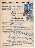 1959 YUGOSLAVIA,BOSNIA,STOLAC,HEALTH CERTIFICATE,3 STOLAC MUNICIPALITY STAMPS,3 STATE REVENUE STAMP - 1945-1992 République Fédérative Populaire De Yougoslavie
