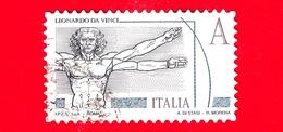 ITALIA - Usato - 2015 - Leonardesca - A • Uomo Vitruviano - Leonardo Da Vinci - Prioritaria Per Interno - Val. € 2.80 - 6. 1946-.. Repubblica