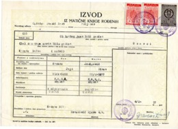 1957 YUGOSLAVIA,BOSNIA,SANSKI MOST,BIRTH CERTIFICATE,2 SANSKI MOST MUNICIPALITY & 1 STATE REVENUE STAMP - 1945-1992 République Fédérative Populaire De Yougoslavie