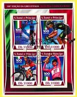 Bloc Feuillet Oblitéré De 4 Timbres-poste - 100e édition Du Giro D'Italie - Sao Tome Et Principe 2017 - São Tomé Und Príncipe