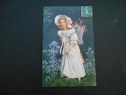 Petite Fille élégante Avec Chapeau Portant Hotte Pleine De Fleurs Roses Et Fer à Cheval - Argent - Gaufrée - Série 7046 - Enfants