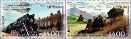 Artsakh - Armenia - Nagorno Karabakh 2020 Mi 218-219 Zd Europa 2020 Ancient Postal Routes Train And Mail Coach MNH** - Armenia