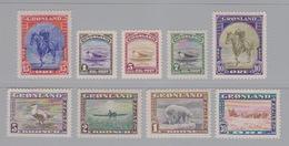 Groenland, N° 10 à 18 (Christian X, Ours Polaire, Chien De Mer, Attelage De Chiens, Esquimau En Kayak, Eider) Neuf ** - Groenlandia