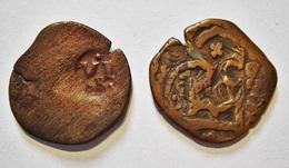 SPAIN FELIPE IV.  2 COUNTERMARKED COINS. CONTREMARQUES A IDENTIFIER. ESPAGNE. - [1] …-1931: Königreich