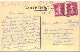 """Cachet Ambulant """"Calais A Paris 1° 1934"""" Semeuse Indice=5 Frappe Superbe Luxe Cp Rinxent (P De C) - Railway Post"""
