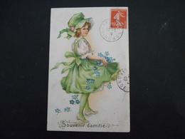 Petite Fille élégante Avec Charlotte Et Robe Vertes, Myosotis - Gaufrée - Enfants