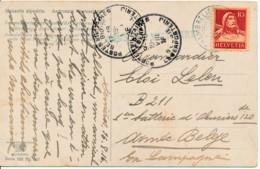 Suisse Chambrelien 16.8.16 – Vers Brancardier B211 - Ar-mée Belge PMB / BMP 19 VIII 16 - Censure Militaire - WW I
