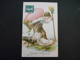 Petit Garçon Portant Gros Oeuf Rose Sur Son Dos Et Marchant Avec Des Poules - Gaufrée - Série 5923 - Enfants