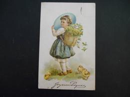 Petite Fille Portant Gros Oeuf Bleu Et Hotte Pleine De Fleurs Jaunes Et D'oeufs Colorés, Poussins - Gaufrée - Série 5923 - Enfants