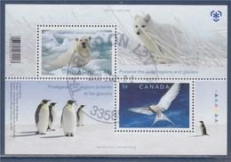 Protégeons Les Régions Polaires Les Glaciers Arctique Ours Polaire Manchot Oiseau Polaire 2 Timbres Oblitérés Gommé - Blocs-feuillets