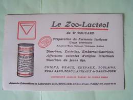 """BUVARD. PUBLICITE SANTE. """"LE ZOO-LACTEOL"""".  101_0067""""a"""" - Produits Pharmaceutiques"""