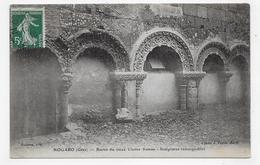 (RECTO / VERSO) NOGARO EN 1910 - RESTES DU VIEUX CLOITRE ROMAN - LEGER PIQUAGE A CHEVAL SUR TIMBRE - CPA VOYAGEE - Nogaro