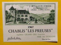 "14254  -  Chablis ""Les Preuses"" 1967 J.Billod-Simon - Bourgogne"
