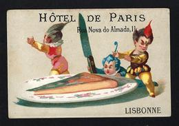 Cartão Publicidade HOTEL Rua Nova Do Almada LISBOA. Chromo Calendier Saints 1877. Old Victorian Trade Card VTC Portugal - Cromo