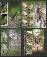 Romania 2013 MiNr. 6721 - 6724  Rumänien NOCTURNAL BIRDS OF PREY Owls  MNH** 32.30  €  (limited 9600) - Uilen