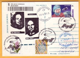 2014 Moldova Moldavie Moldau  World Space Week 4-10 October 2014. Space. Gagarin  Armstrong Oldrin - Moldawien (Moldau)