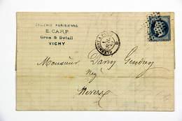 LAC 1869 Vichy --> Nevers, Affr. 20c Type Empire Lauré, Tad Ambulant Clermont à Paris, Losange Cf P - 1849-1876: Période Classique