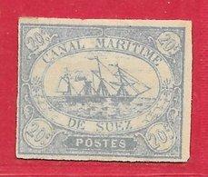 Egypte - Suez N°3 20c Bleu (faux) 1868 (*) - 1866-1914 Ägypten Khediva