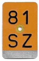 Velonummer Mofanummer Schwyz SZ 81 - Placas De Matriculación