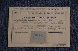 Carte De Circulation Donnant Droit Au Transport Gratuit Sur Tous Les Chemins De Fer Du SUD OUEST. 1955 - Autres