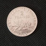 "2 Francs Argent "" Type Semeuse  "" 1910 - Francia"