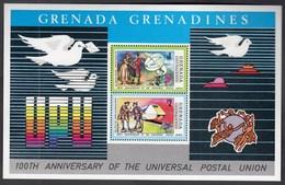 Grenada Grenadines 1974 / 100th Anniversary Of The Universal Postal Union, UPU, Satellite, Train, Postman / MNH, Mi BL 3 - UPU (Union Postale Universelle)