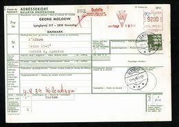 DANEMARK DANMARK Bulletin Expédition Colis Gentofte 15.5.78 EMA KGL POST Meter Stamp 92 Ore + Complément 3 KR   2 Scan - Paketmarken