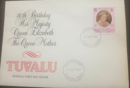 O -r) 1980 TUVALU, QUEEN MOTHER ELIZABETH, FDC XF - Tuvalu