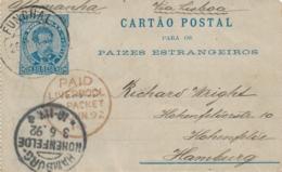 Portugal - 1892 - 50R Cartao Postal From Funchal Via Liverpool To Hamburg / Deutschland - Entiers Postaux