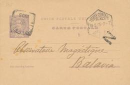 Portugal - 1905 - 20R Carte Postale From Lisboa To Batavia / Nederlands Indië - Privateprint Academie Royale Des Science - Entiers Postaux